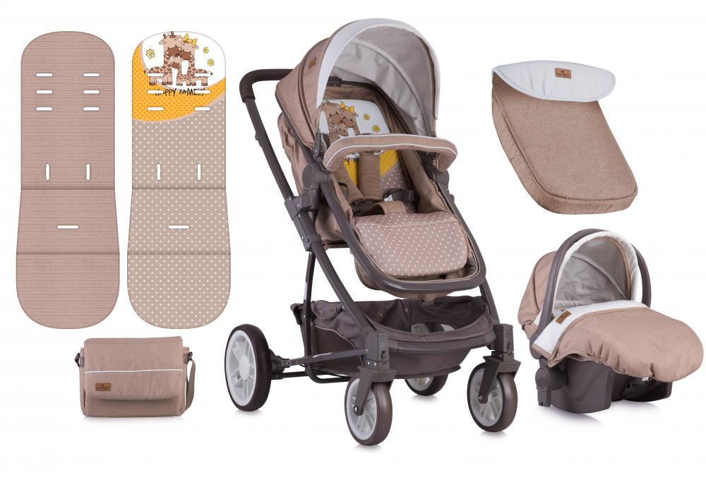 Carucior Set S-500 cos auto inclus Beige Yellow Happy Family thumbnail