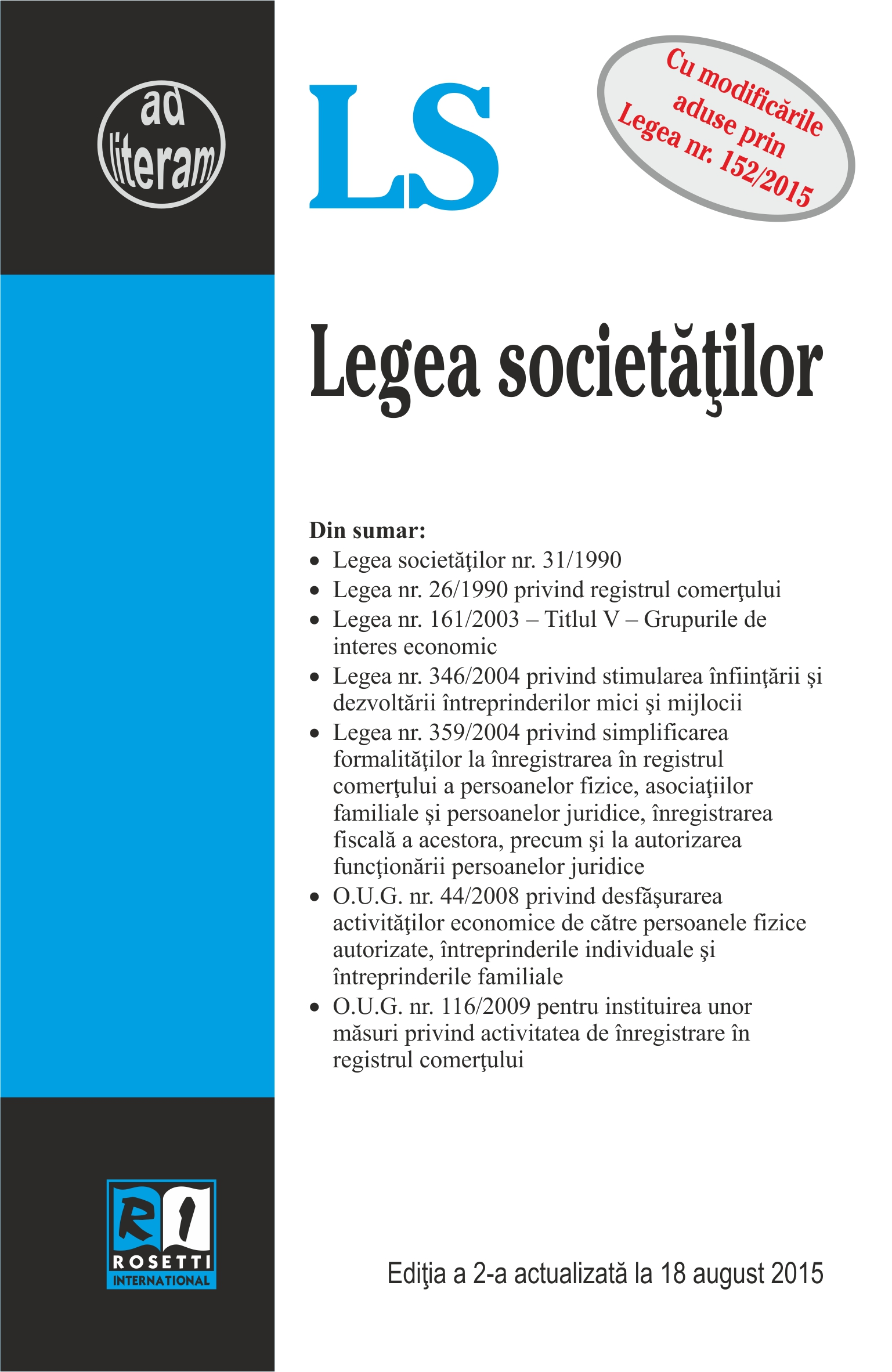 Legea Societatilor Act. 18 August 2015 thumbnail