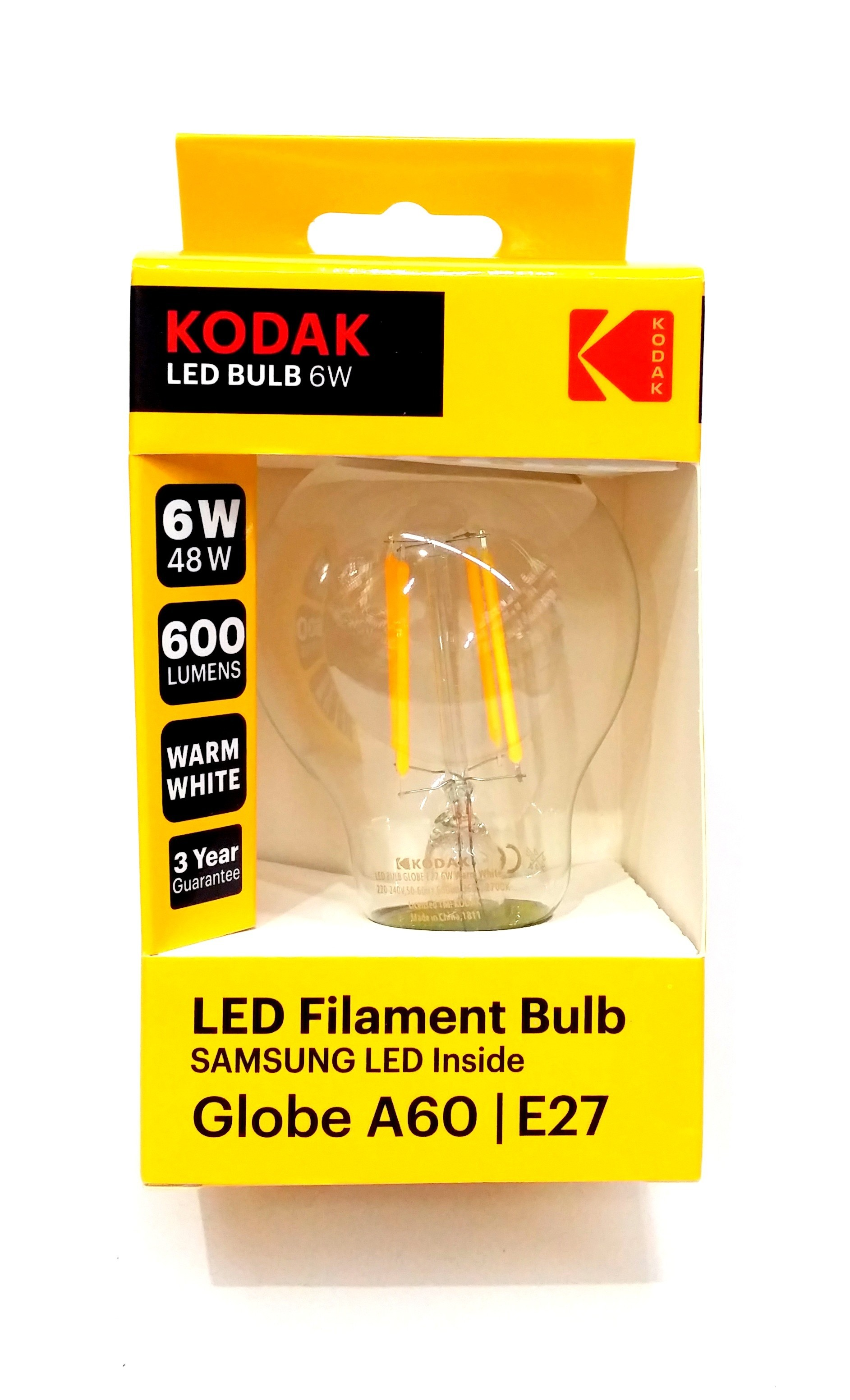 Kodak Bec Led A 60 E 27 600 Lm 6 W Filament Clear/Warm 30419186 thumbnail
