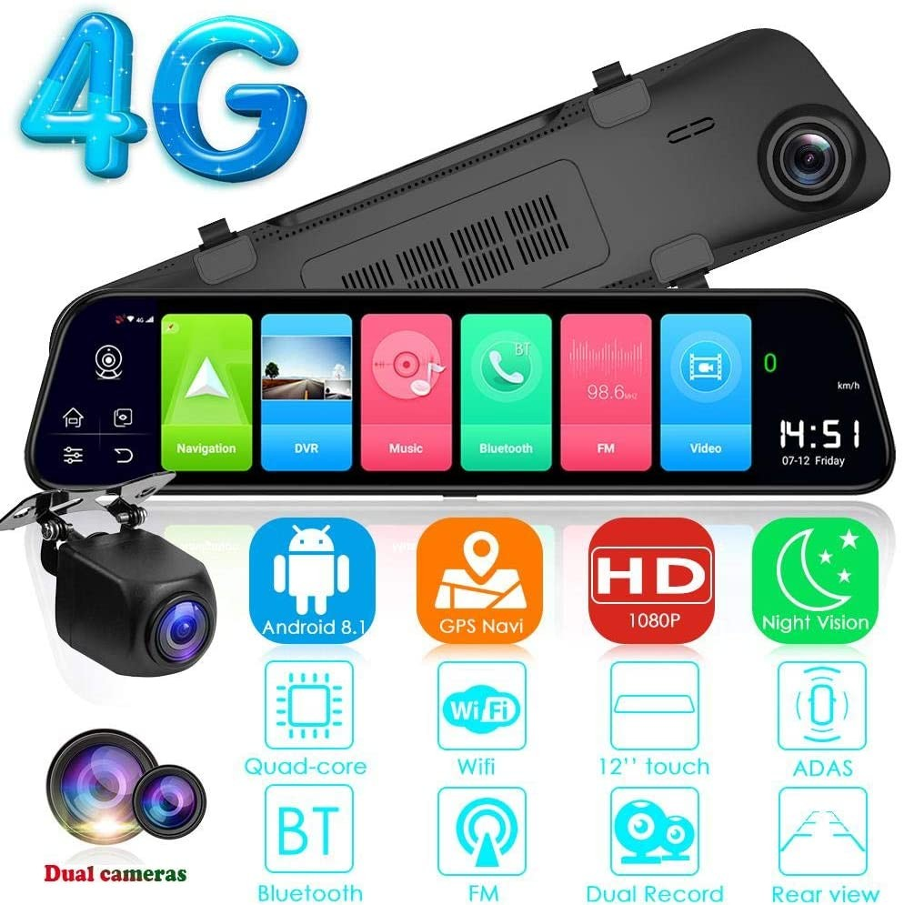 "Camera Auto Dubla Tip Oglinda T40S , Android 8.1, 4G si WiFi, 12"" IPS Touch Full HD, Hotspot, ADAS, GPS, Car Assist thumbnail"