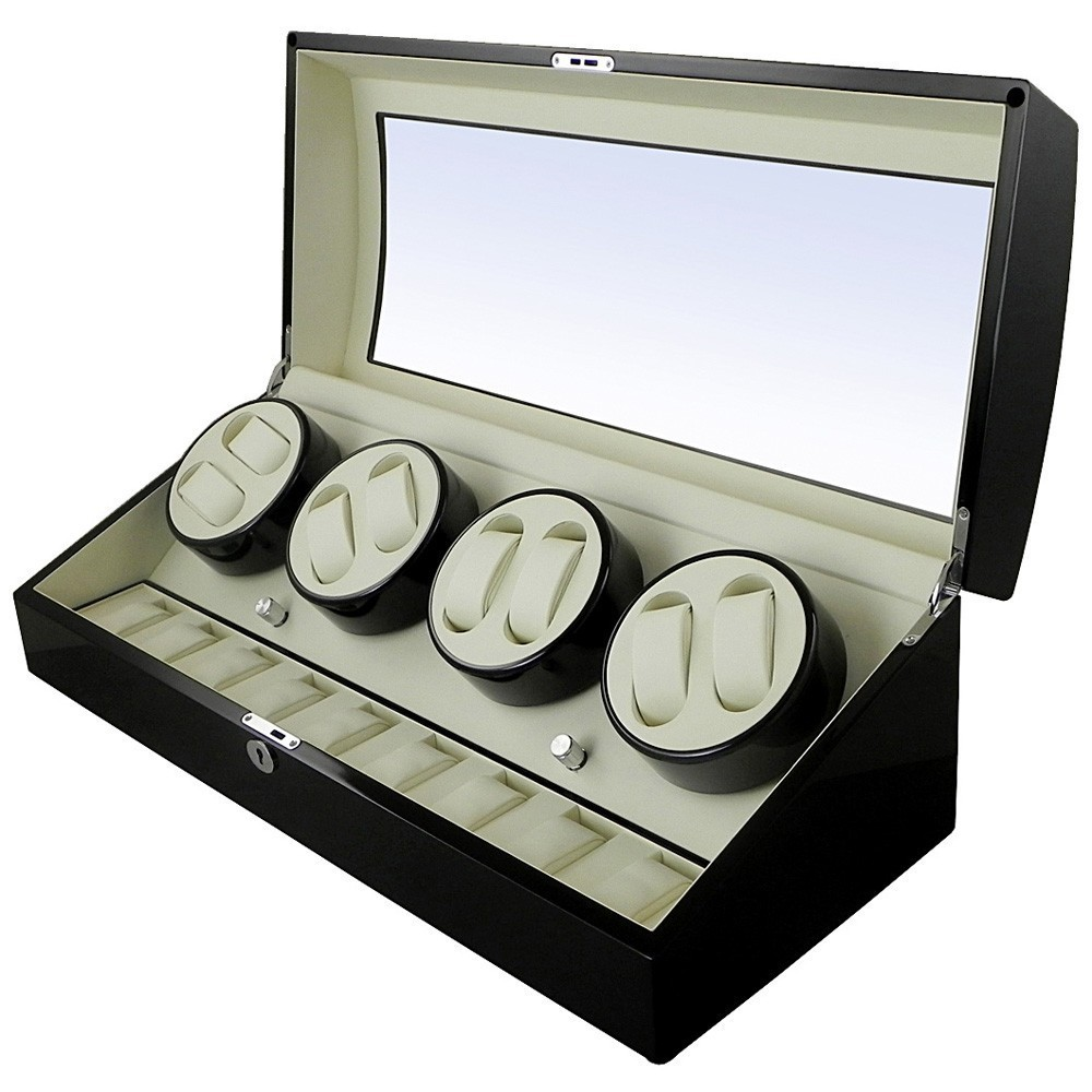 Watch Winder 8 + 12 spatii - Black Piano thumbnail